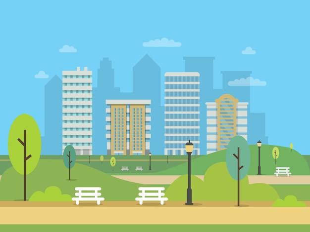 Stadtlandschaft mit verschiedenen gebäuden und grünem central park des modernen stadtgebäudes mit grünem baum