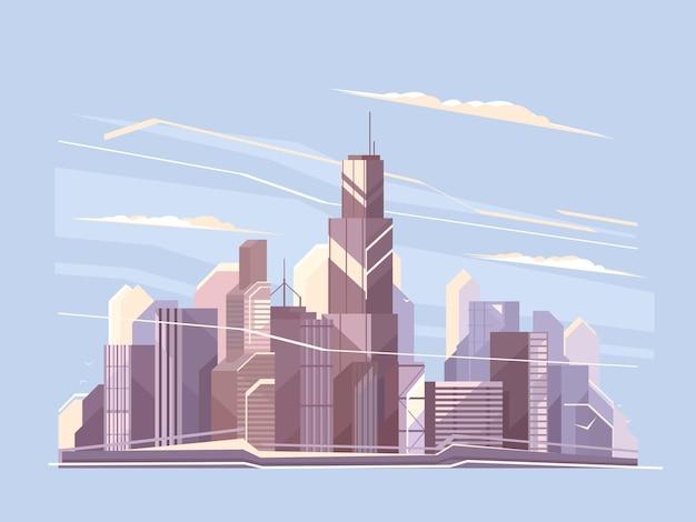Stadtlandschaft mit wolkenkratzern. geschäftsviertel panorama. flache illustration