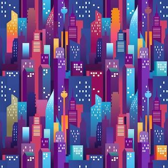 Stadtlandschaft nahtlose muster. moderne innenstadt mit farbwolkenkratzern