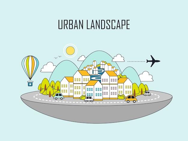 Stadtlandschaft: schöne stadt im linienstil
