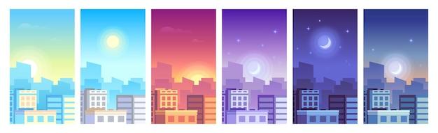 Stadtlandschaft. tagsüber stadtbild sonnenaufgang, morgen oder tag, sonnenuntergang und nacht skyline der stadt, stadt mit gebäuden in unterschiedlicher zeit und städtisches stadtbild. architektur-silhouette-vektor-set