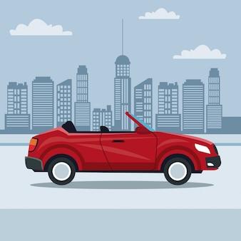 Stadtlandschaft und sport cabrio auf der straße