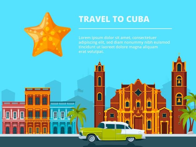 Stadtlandschaft von kuba. verschiedene historische symbole und wahrzeichen. reisen und tourismus, stadtbild kuba, stadtbau und stadtlandschaft.