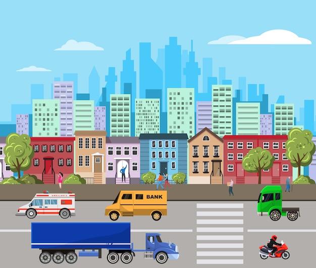 Stadtlandschaftsillustration mit modernen stadtwolkenkratzern und vorortgebäuden, urbanisierungskonzept.