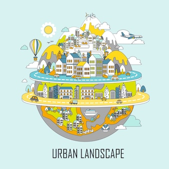 Stadtlandschaftskonzept: attraktive stadt im linienstil