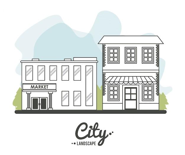 Stadtlandschaftsmarkt-speichergebäude stree baumgrenze