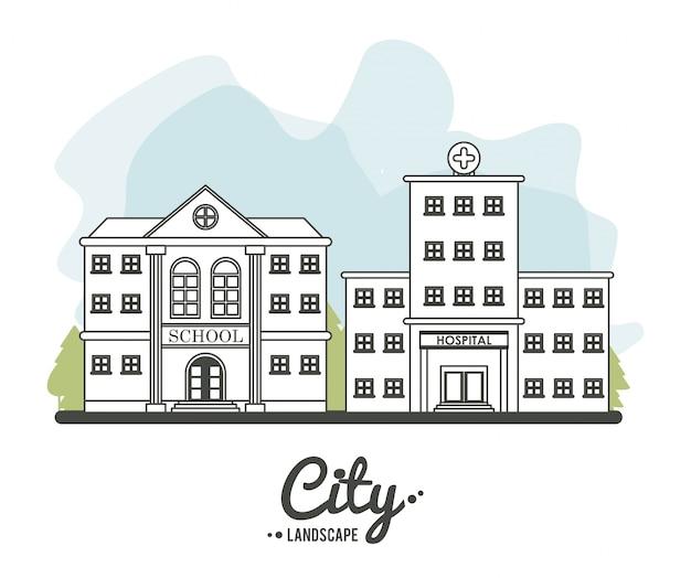Stadtlandschaftsschulkrankenhaus-gebäudebaumgrenze design