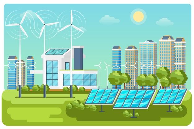 Stadtlandschaftsvektor der grünen energie. ökologie natur, öko hausbau. öko-stadtvektorlandschaftsillustration der grünen energie