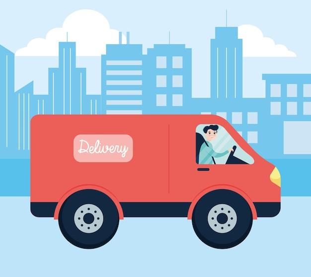 Stadtlieferant, der lieferwagen fährt