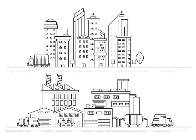 Stadtlinienillustration mit industriellem konzept