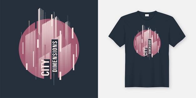Stadtmaße. abstraktes geometrisches dynamisches design des vektor-t-shirts mit gestylter städtischer skyline.
