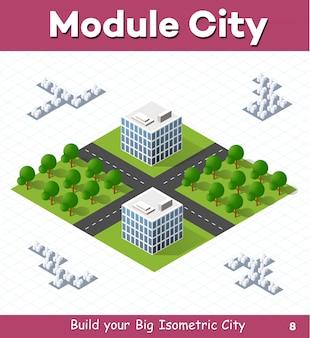 Stadtmodul für den bau und entwurf einer großen isometrischen stadt
