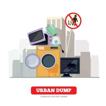 Stadtmüllkippe. geräteabfall von defekter küche und haushaltselektronik, die prozessvektorkonzept aufbereitet