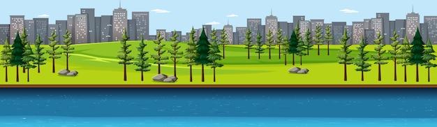 Stadtnaturpark mit flussseitenlandschaftsszene