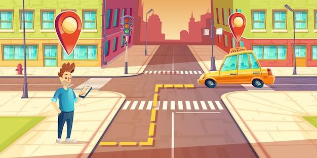 Stadtnavigation, taxi-service-anwendung, werbeschablone
