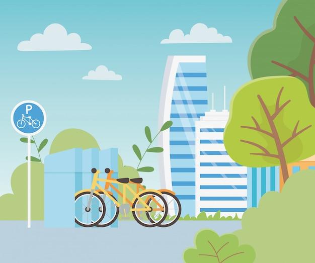 Stadtökologieparkfahrräder transportieren die natürlichen gebäudestadtbäume