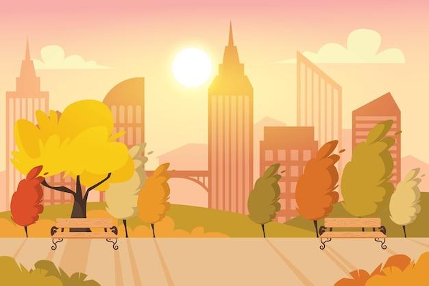Stadtpark auf dem sonnenuntergangshintergrund premium
