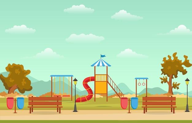 Stadtpark im fall-herbst mit dem kinderspielplatz, der ausrüstungs-illustration spielt