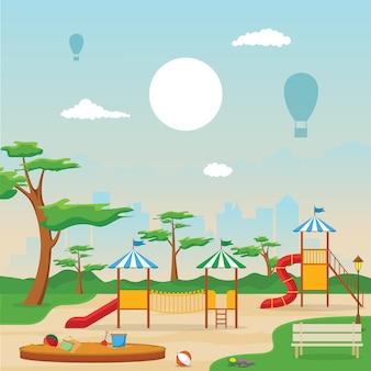 Stadtpark im sommer mit kinderspielplatz spielen