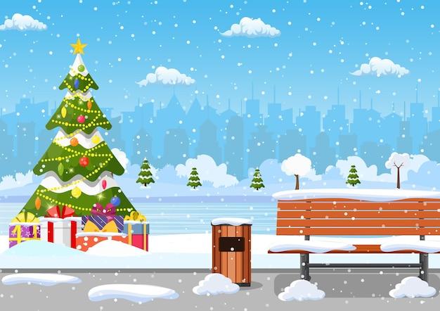 Stadtpark im verschneiten winter