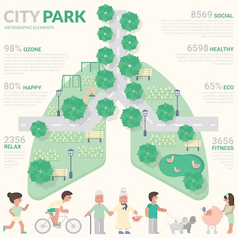 Stadtpark infografik. gesundes konzept.