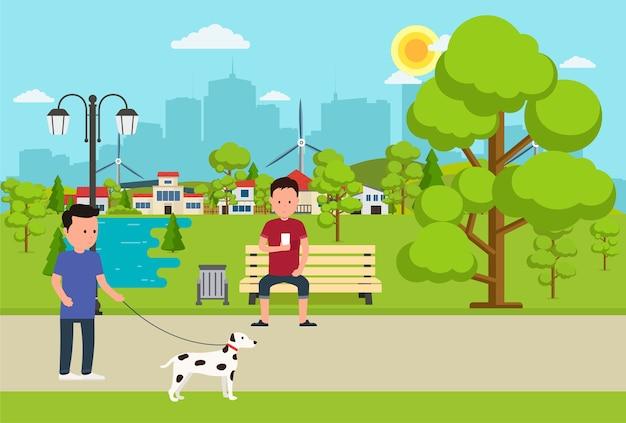 Stadtpark mit bank, laterne und menschen, die sich auf der natur ausruhen. sommerpark auf hintergrundgroßstadt.
