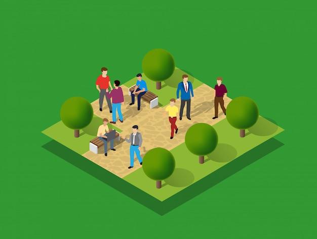 Stadtpark mit menschen und bäumen