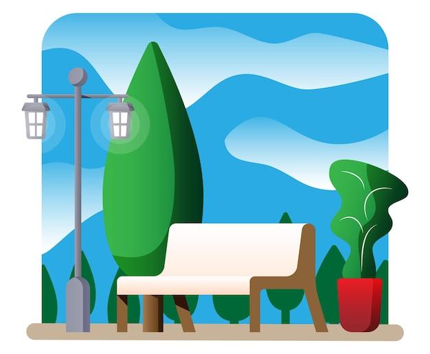 Stadtparkkonzept, holzbank, straßenlaterne auf platz und bäumen. himmel mit wolken. freizeit im sommerstadtpark. relax-sitzecke im minimalistischen design. vektor im flachen stil