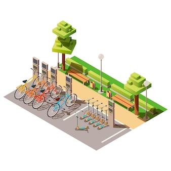 Stadtparkplatz für leihfahrräder und motorroller