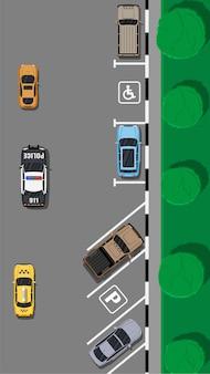 Stadtparkplatz mit verschiedenen autos