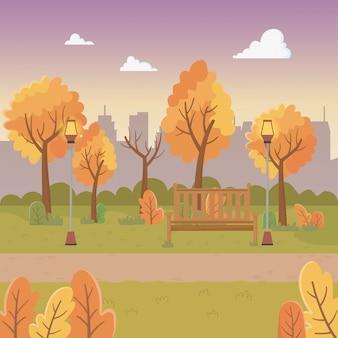 Stadtparkszene mit laternen und stuhl