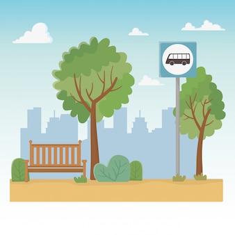 Stadtparkszene mit stuhl und bushaltestelle