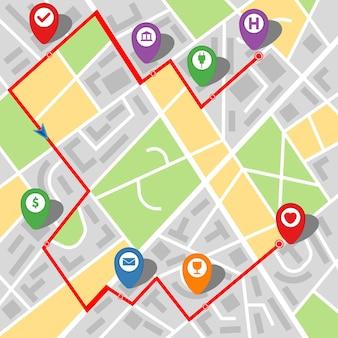 Stadtplan einer imaginären stadt mit einer route mit mehreren haltestellen. vektor-illustration.