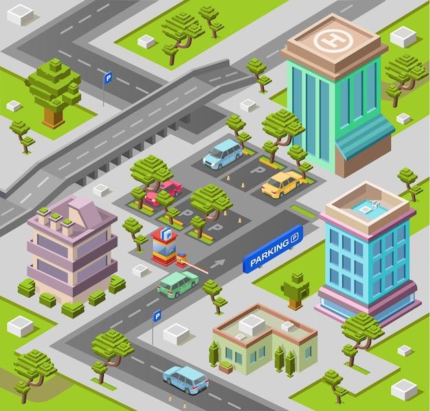 Stadtplan für parkplatz oder karte mit büro- und wohngebäuden