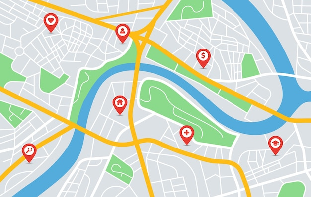 Stadtplan gps-navigation mit standortstiftmarkierungen städtischen straßen in der innenstadt parkt flussvektorbild