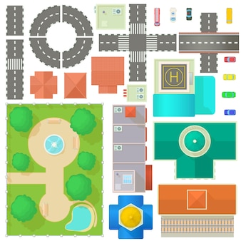 Stadtplan-konstruktor im cartoon-stil