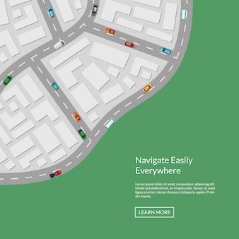 Stadtplan mit auto-draufsicht von oben
