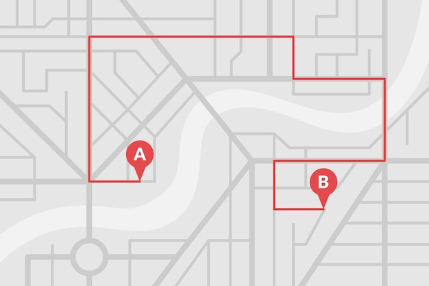 Stadtplan mit gps-pins und navigationsroute von a- nach b-punktmarkierungen. vektorgraues farbeps-illustrationsschema
