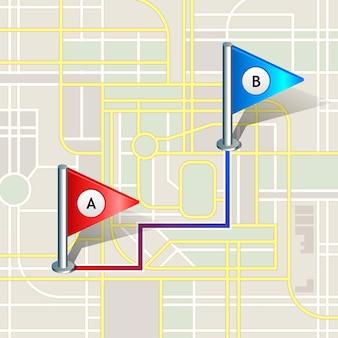 Stadtplan mit markierungen, symbol.