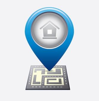 Stadtplan mit navigationsikonen
