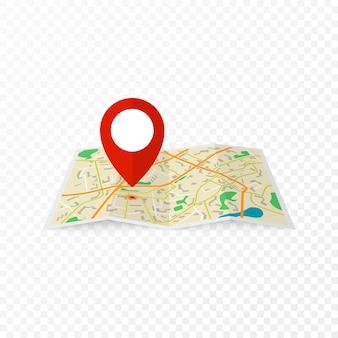 Stadtplan mit rotem markierungsstift. abstrakter stadtplan. illustration im design auf transparentem hintergrund