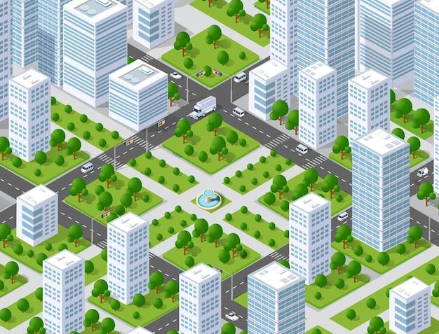 Stadtplan musterkarte. isometrische landschaftsstruktur von stadtgebäuden, wolkenkratzern, straßen und bäumen.