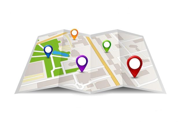Stadtplan-symbolillustration. straßensymbol der reisestadt. kartenentwurf mit gps-stiftzeichen