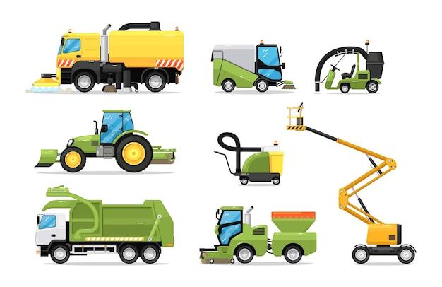 Stadtreinigungsmaschine technischer lkw und notwagenset. kommunale maschinen für traktor, kehrmaschine und waschmaschine für straßenreinigungs- und hygienevektorillustration lokalisiert auf weißem hintergrund