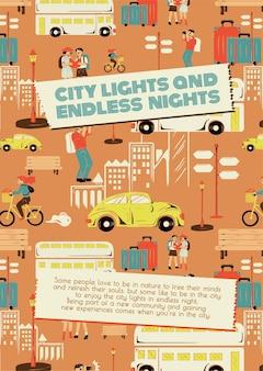 Stadtrundfahrt-reisevorlagenvektor für werbeplakate von marketingagenturen