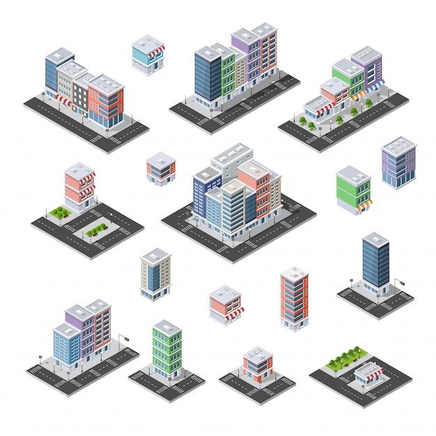 Stadtsatz isometrischer städtischer infrastruktur
