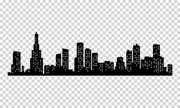 Stadtschattenbild. moderne stadtlandschaft. stadtbild gebäude silhouette. skyline der stadt mit flachen fenstern