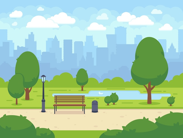 Stadtsommerpark mit grüner baumbank, gehweg und laterne. stadt- und stadtparklandschaftsnatur. cartoon-vektor-illustration