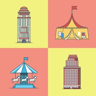 Stadtstadt wolkenkratzerhaus attraktionen park zirkus karussell architektur gebäude set. flache stilikonen mit linearem strichumriss. mehrfarbige symbolsammlung.