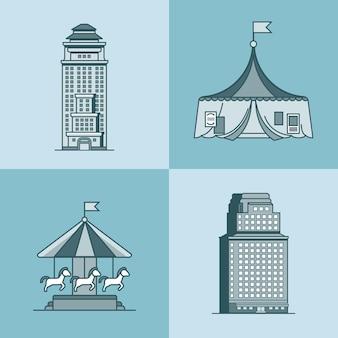 Stadtstadt wolkenkratzerhaus attraktionen park zirkus karussell architektur gebäude set